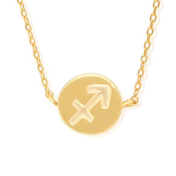 N-7009 Zodiac Symbol Charm and Necklace Set - Gold Plated - Sagittarius | Teeda