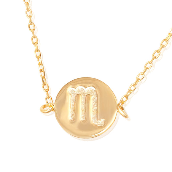 N-7009 Zodiac Symbol Charm and Necklace Set - Gold Plated - Scorpio | Teeda