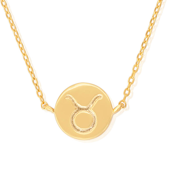N-7009 Zodiac Symbol Charm and Necklace Set - Gold Plated - Taurus | Teeda