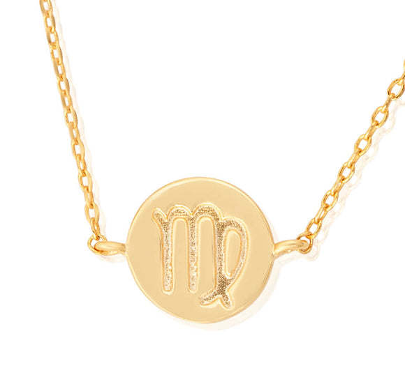 N-7009 Zodiac Symbol Charm and Necklace Set - Gold Plated - Virgo | Teeda
