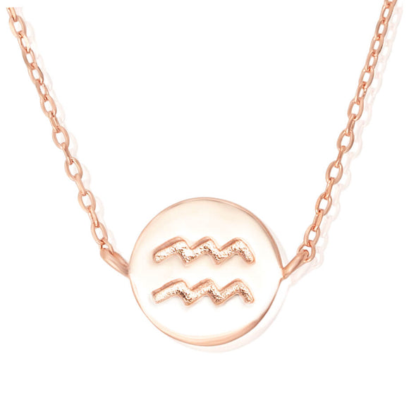 N-7009 Zodiac Symbol Charm and Necklace Set - Rose Gold Plated - Aquarius | Teeda