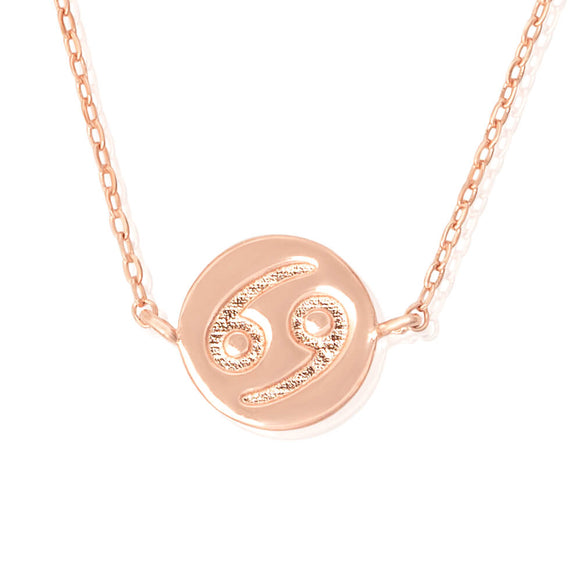 N-7009 Zodiac Symbol Charm and Necklace Set - Rose Gold Plated - Cancer | Teeda
