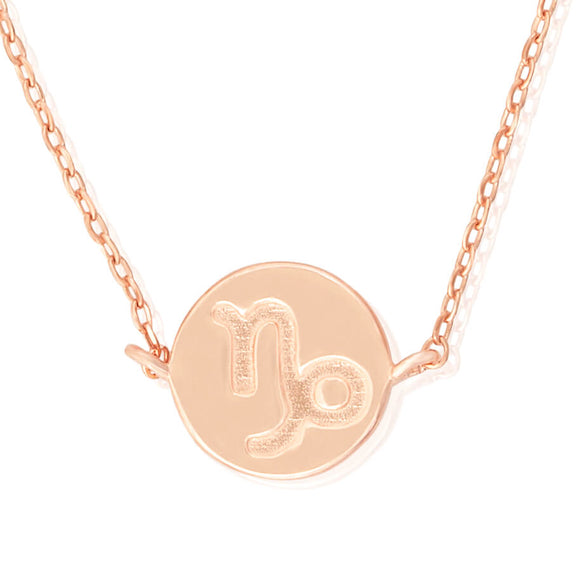 N-7009 Zodiac Symbol Charm and Necklace Set - Rose Gold Plated - Capricorn | Teeda