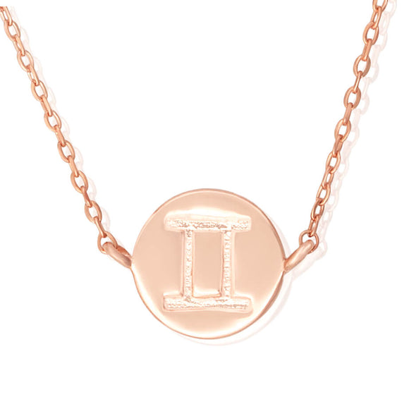 N-7009 Zodiac Symbol Charm and Necklace Set - Rose Gold Plated - Gemini | Teeda