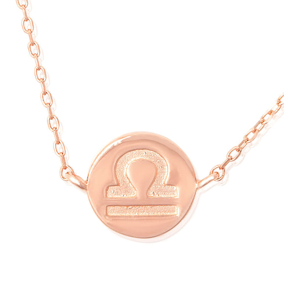 N-7009 Zodiac Symbol Charm and Necklace Set - Rose Gold Plated - Libra | Teeda