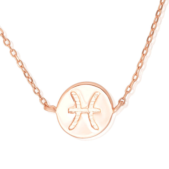 N-7009 Zodiac Symbol Charm and Necklace Set - Rose Gold Plated - Pisces | Teeda