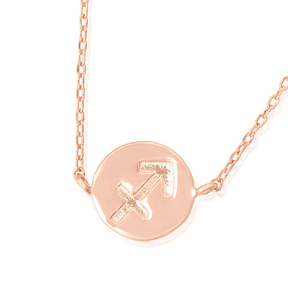 N-7009 Zodiac Symbol Charm and Necklace Set - Rose Gold Plated - Sagittarius | Teeda