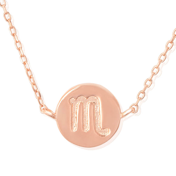 N-7009 Zodiac Symbol Charm and Necklace Set - Rose Gold Plated - Scorpio | Teeda
