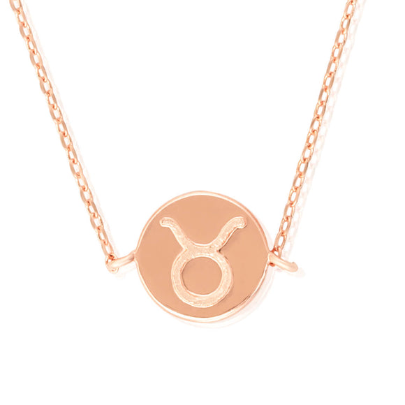 N-7009 Zodiac Symbol Charm and Necklace Set - Rose Gold Plated - Taurus | Teeda