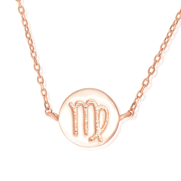 N-7009 Zodiac Symbol Charm and Necklace Set - Rose Gold Plated - Virgo | Teeda
