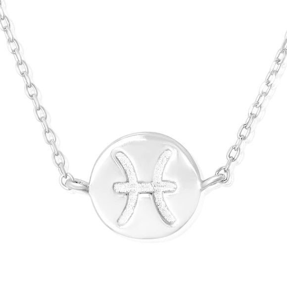 N-7009 Zodiac Symbol Charm and Necklace Set - Rhodium Plated - Pisces | Teeda