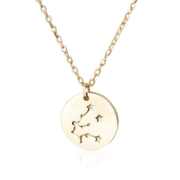 N-7016 Zodiac Constellation Disc Charm and Necklace Set - Gold Plated - Aquarius | Teeda