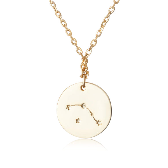 N-7016 Zodiac Constellation Disc Charm and Necklace Set - Gold Plated - Aries | Teeda
