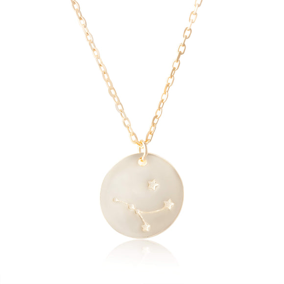 N-7016 Zodiac Constellation Disc Charm and Necklace Set - Gold Plated - Cancer | Teeda