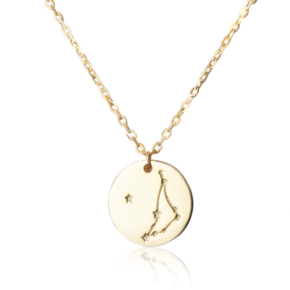 N-7016 Zodiac Constellation Disc Charm and Necklace Set - Gold Plated - Capricorn | Teeda