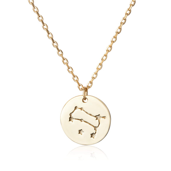 N-7016 Zodiac Constellation Disc Charm and Necklace Set - Gold Plated - Gemini | Teeda