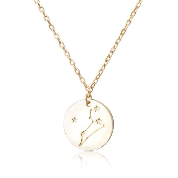 N-7016 Zodiac Constellation Disc Charm and Necklace Set - Gold Plated - Leo | Teeda