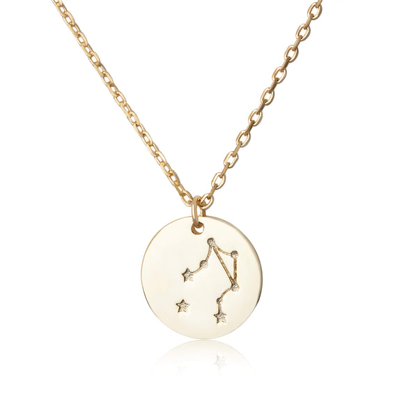 N-7016 Zodiac Constellation Disc Charm and Necklace Set - Gold Plated - Libra | Teeda