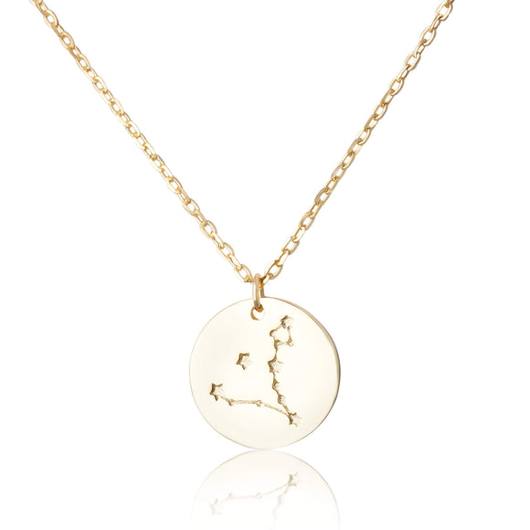 N-7016 Zodiac Constellation Disc Charm and Necklace Set - Gold Plated - Pisces | Teeda