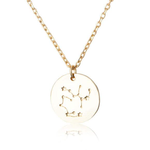 N-7016 Zodiac Constellation Disc Charm and Necklace Set - Gold Plated - Sagittarius | Teeda
