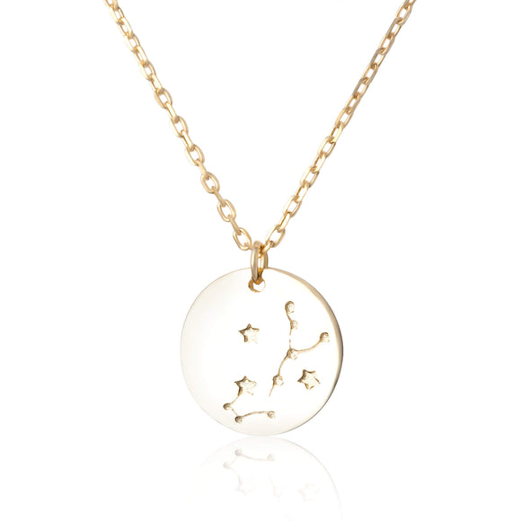 N-7016 Zodiac Constellation Disc Charm and Necklace Set - Gold Plated - Scorpio | Teeda