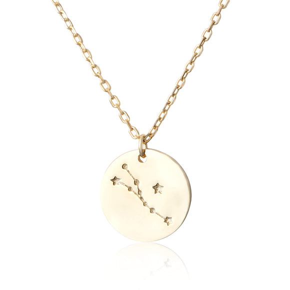 N-7016 Zodiac Constellation Disc Charm and Necklace Set - Gold Plated - Taurus | Teeda