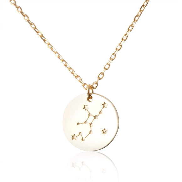 N-7016 Zodiac Constellation Disc Charm and Necklace Set - Gold Plated - Virgo | Teeda