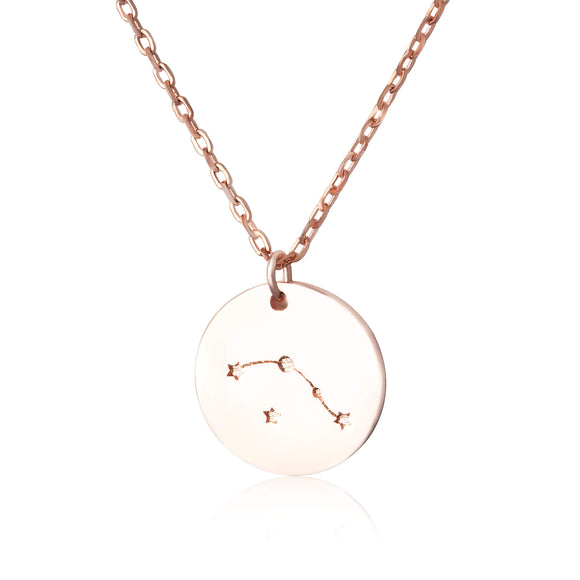 N-7016 Zodiac Constellation Disc Charm and Necklace Set - Rose Gold Plated - Aries | Teeda
