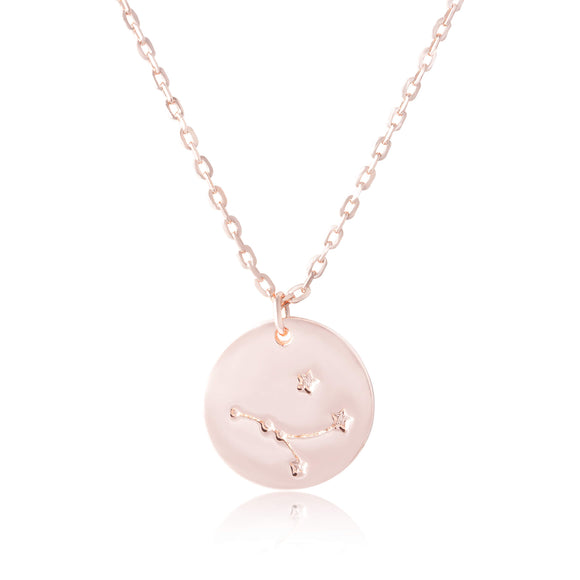 N-7016 Zodiac Constellation Disc Charm and Necklace Set - Rose Gold Plated - Cancer | Teeda