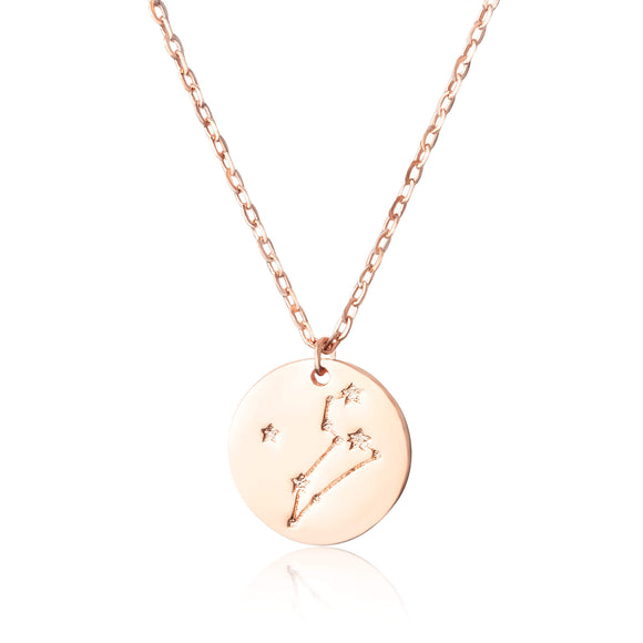 N-7016 Zodiac Constellation Disc Charm and Necklace Set - Rose Gold Plated - Leo | Teeda