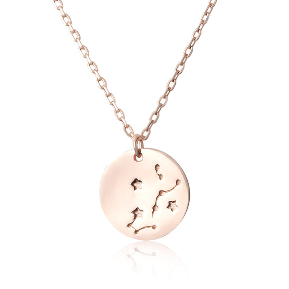 N-7016 Zodiac Constellation Disc Charm and Necklace Set - Rose Gold Plated - Scorpio | Teeda
