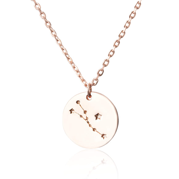 N-7016 Zodiac Constellation Disc Charm and Necklace Set - Rose Gold Plated - Taurus | Teeda