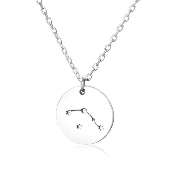 N-7016 Zodiac Constellation Disc Charm and Necklace Set - Rhodium Plated - Aries | Teeda
