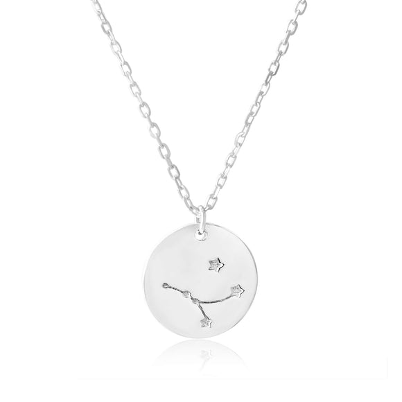N-7016 Zodiac Constellation Disc Charm and Necklace Set - Rhodium Plated - Cancer | Teeda