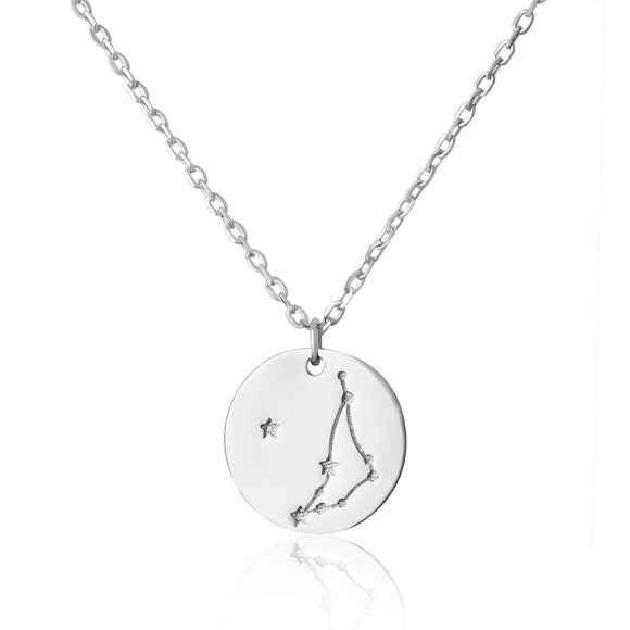 N-7016 Zodiac Constellation Disc Charm and Necklace Set - Rhodium Plated - Capricorn | Teeda