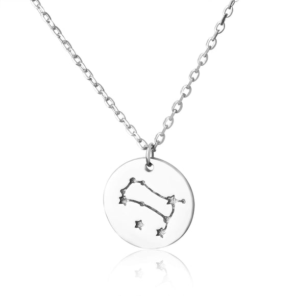 N-7016 Zodiac Constellation Disc Charm and Necklace Set - Rhodium Plated - Gemini | Teeda