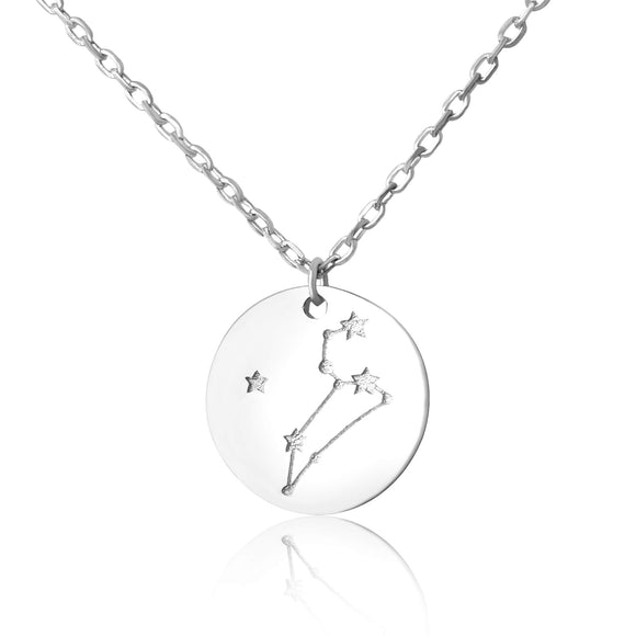 N-7016 Zodiac Constellation Disc Charm and Necklace Set - Rhodium Plated - Leo | Teeda