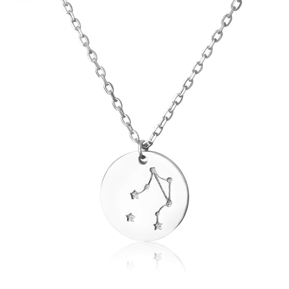 N-7016 Zodiac Constellation Disc Charm and Necklace Set - Rhodium Plated - Libra | Teeda
