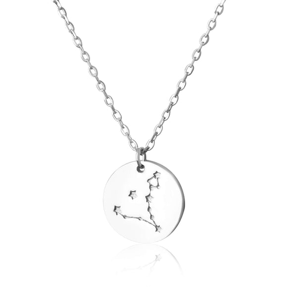 N-7016 Zodiac Constellation Disc Charm and Necklace Set - Rhodium Plated - Pisces | Teeda