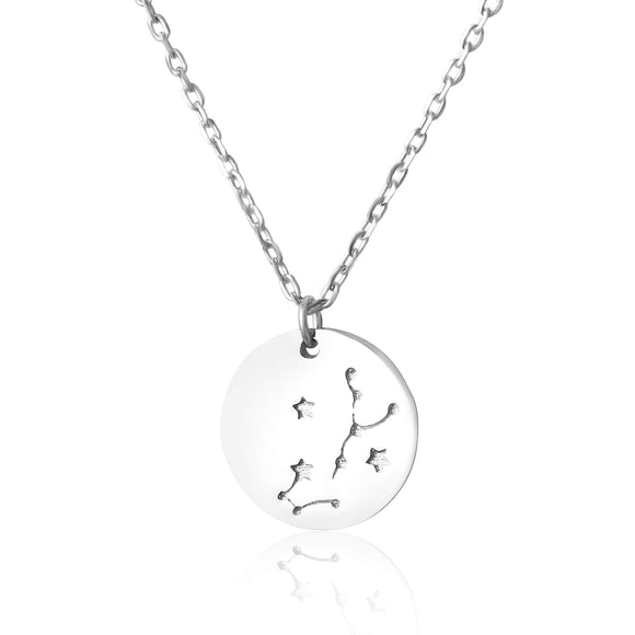 N-7016 Zodiac Constellation Disc Charm and Necklace Set - Rhodium Plated - Scorpio | Teeda