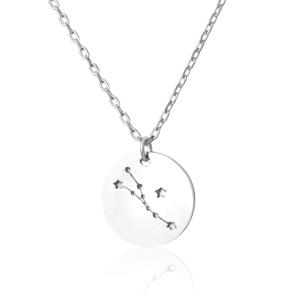 N-7016 Zodiac Constellation Disc Charm and Necklace Set - Rhodium Plated - Taurus | Teeda