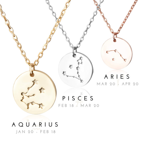 N-7016 Zodiac Constellation Disc Charm and Necklace Set