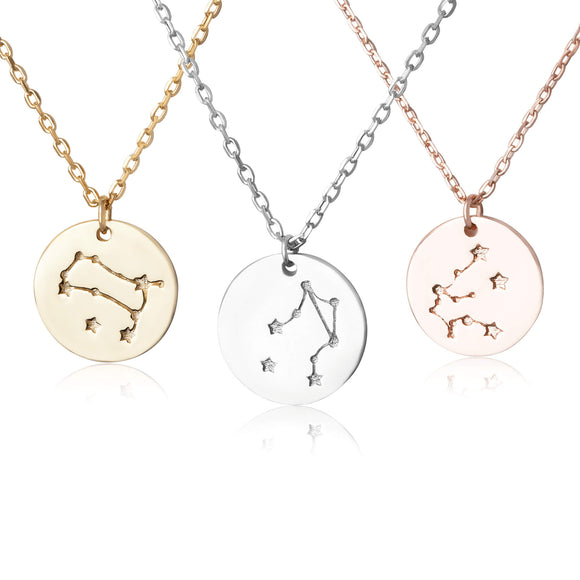N-7016 Zodiac Constellation Disc Charm and Necklace Set | Teeda