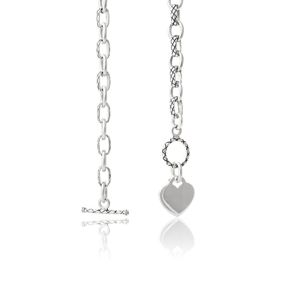 N-807 Alternating Cable Rolo Link with Lattice Pattern Necklace | Teeda