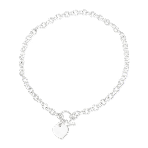 N-810-H Med Round Rolo Link Necklace - Heart | Teeda