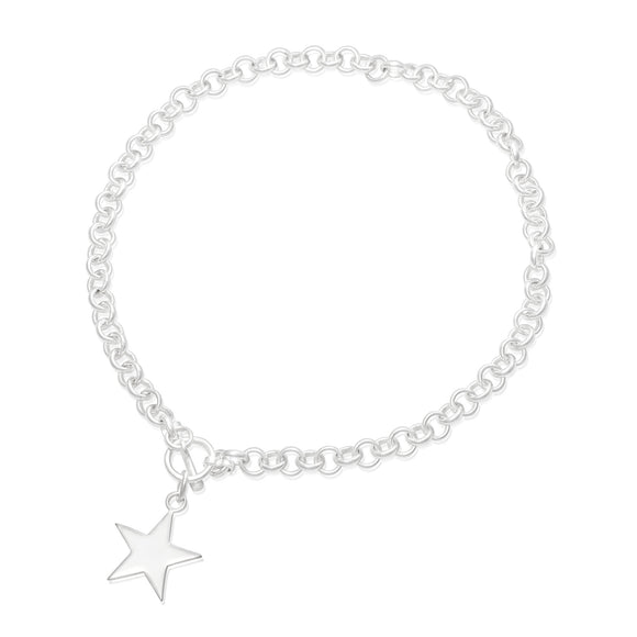 N-810-S Med Round Rolo Link Necklace - Star | Teeda