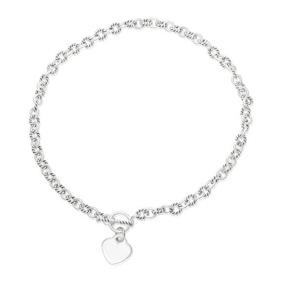 N-813-H Alternating Sm Twist Oval Cable Link Necklace - Heart | Teeda