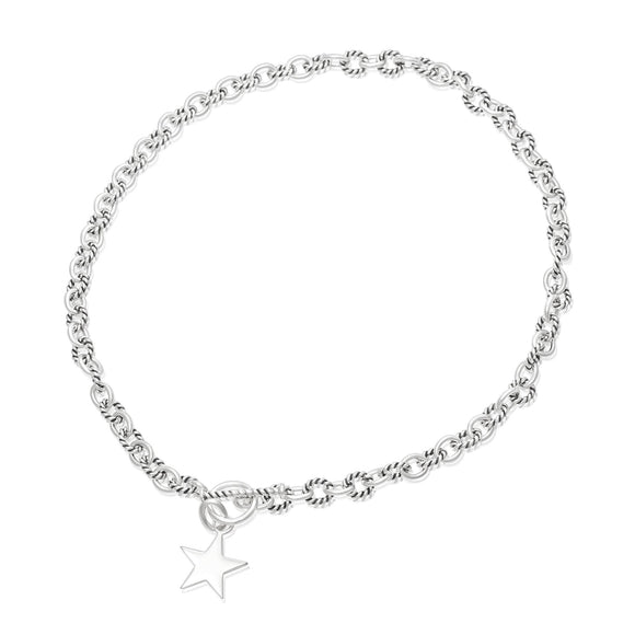 N-813-S Alternating Sm Twist Oval Cable Link Necklace - Star | Teeda