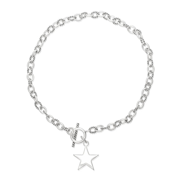 N-814-S Alternating Med Twist Oval Cable Link Necklace - Star | Teeda