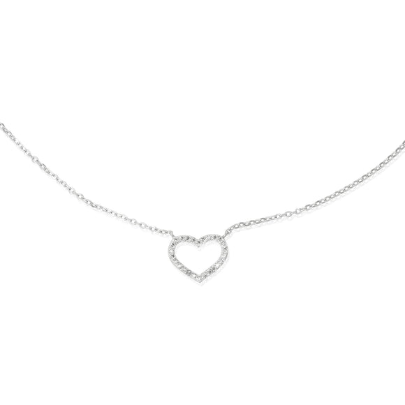 NZ-7000 Open Heart Cubic Zirconia Necklace | Teeda